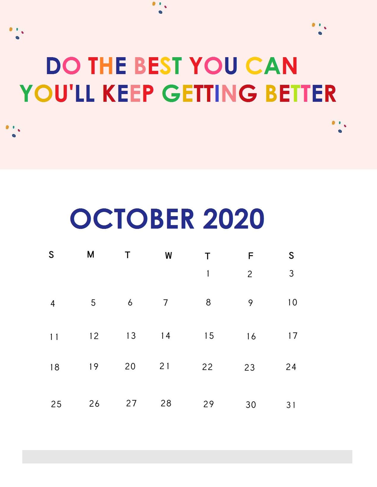 October 2020 Quotes Calendar