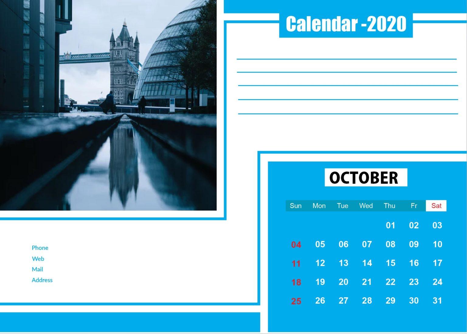 October 2020 Wall Calendar Template