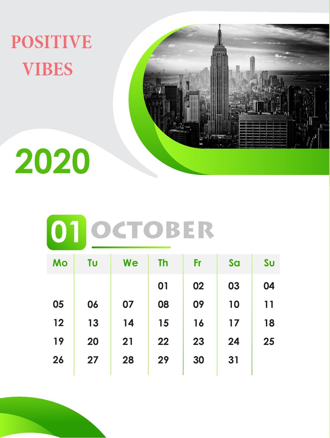 October 2020 Wall Calendar