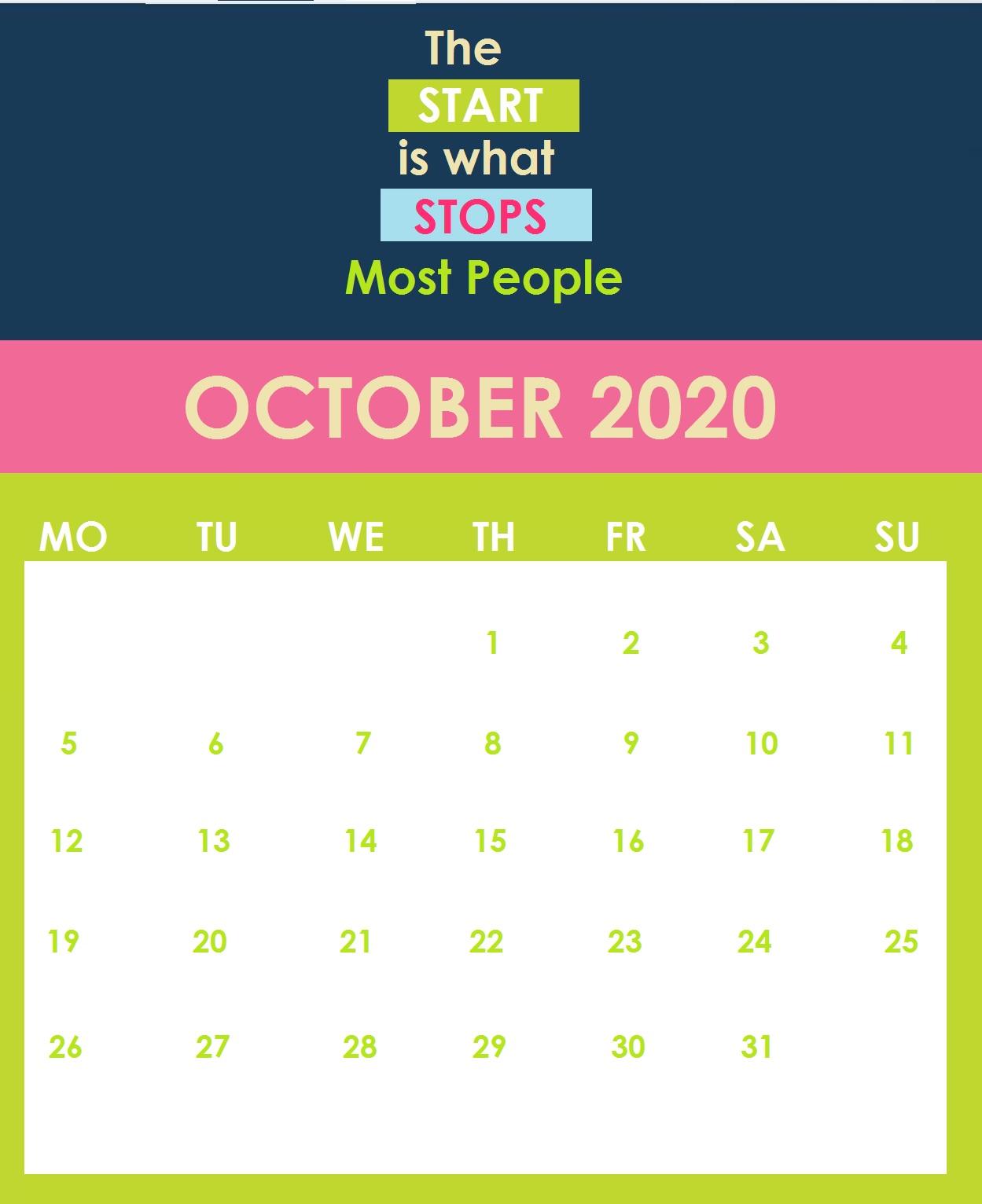 Print October 2020 Quotes Calendar