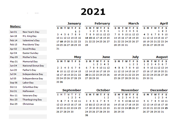Printable 2021 Holidays Calendar