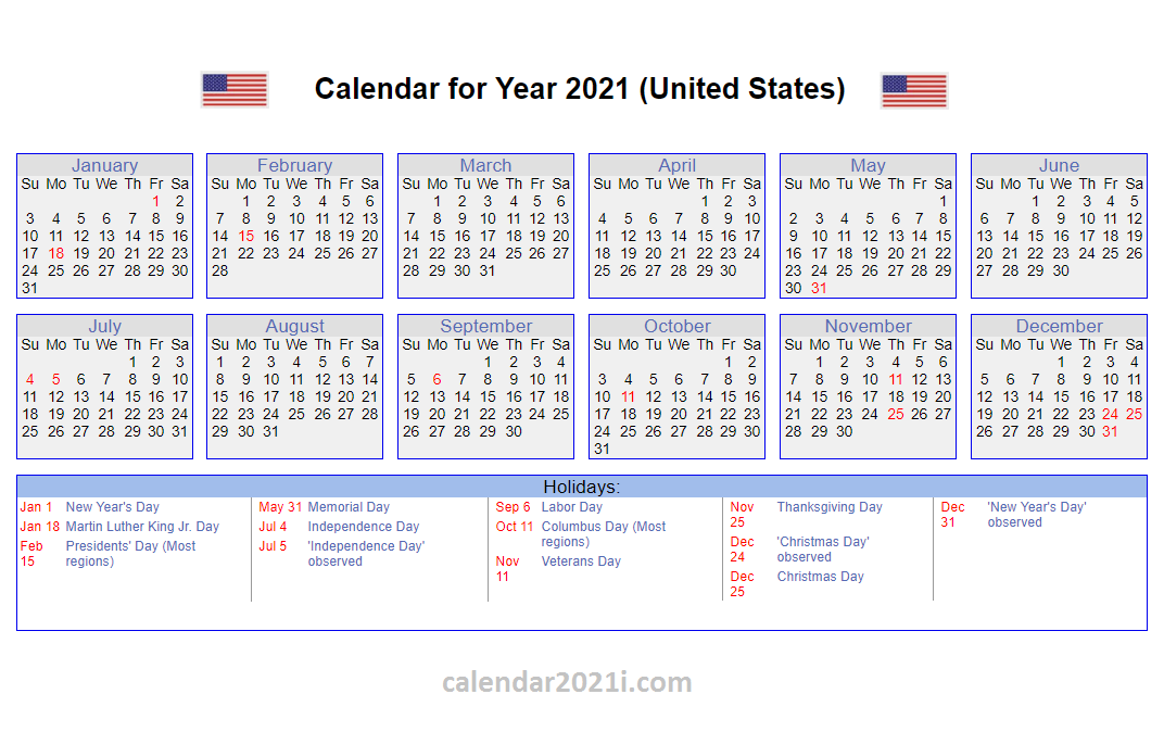 US 2021 Calendar with Holidays