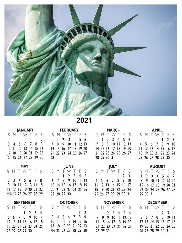 United States 2021 Calendar