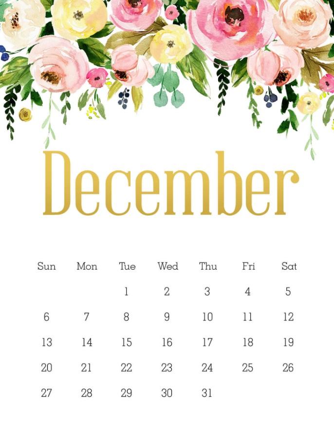 Beautiful December 2020 Calendar