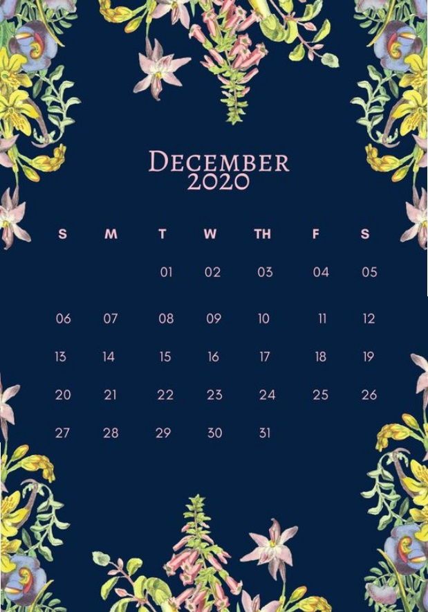 Beautiful Floral December 2020 Calendar