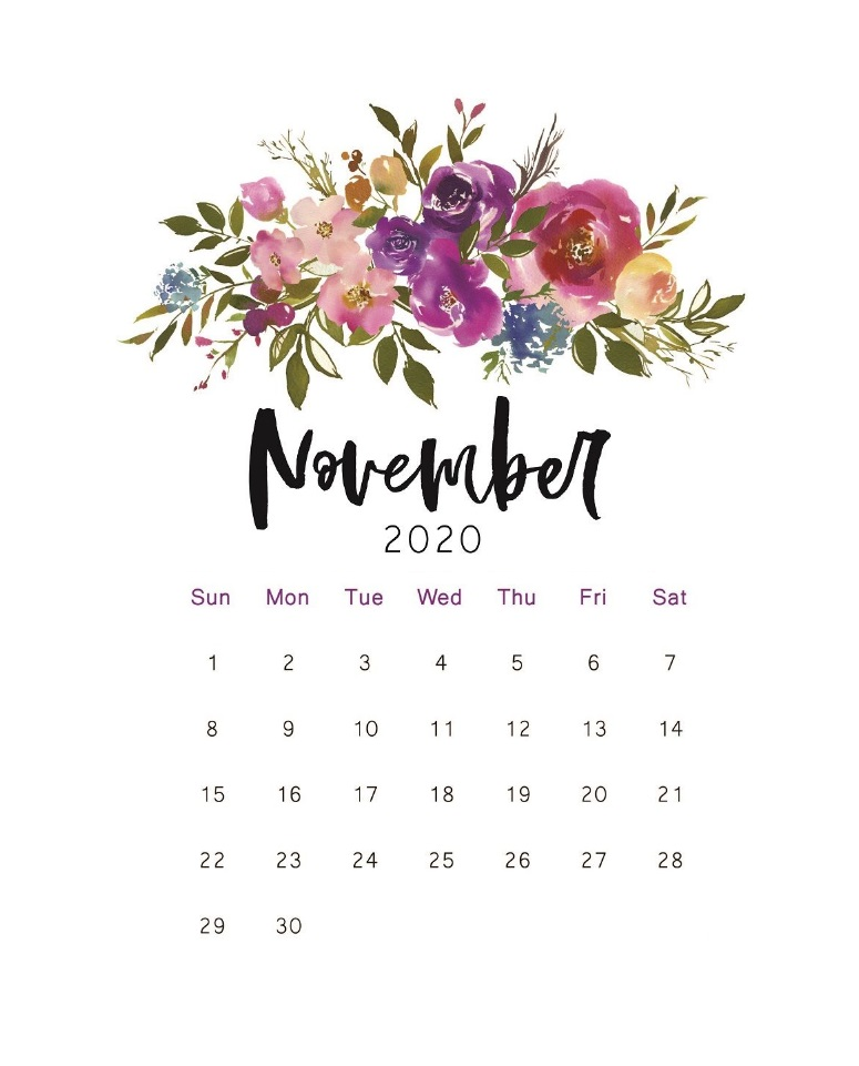 Beautiful Floral November 2020 Calendar