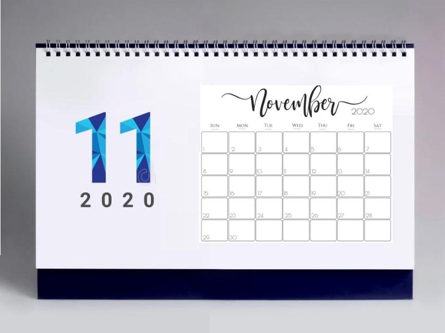Best November 2020 Office Desk Calendar