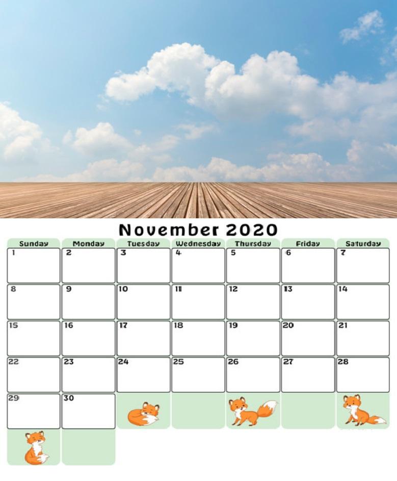 Blue Sky November 2020 Wall Calendar