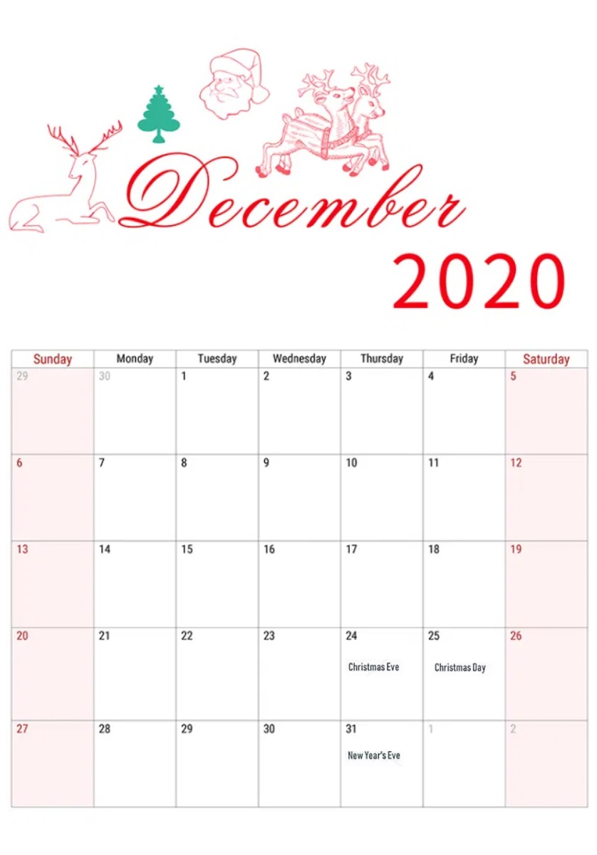 Cute December 2020 Holidays Calendar