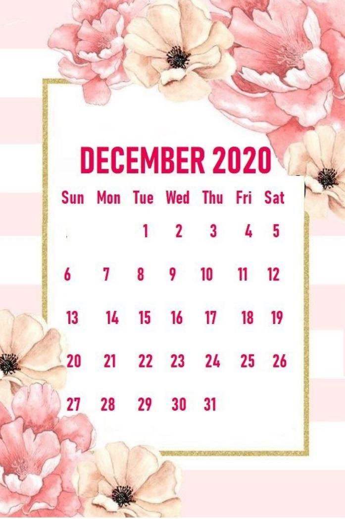 Cute Floral December 2020 Calendar