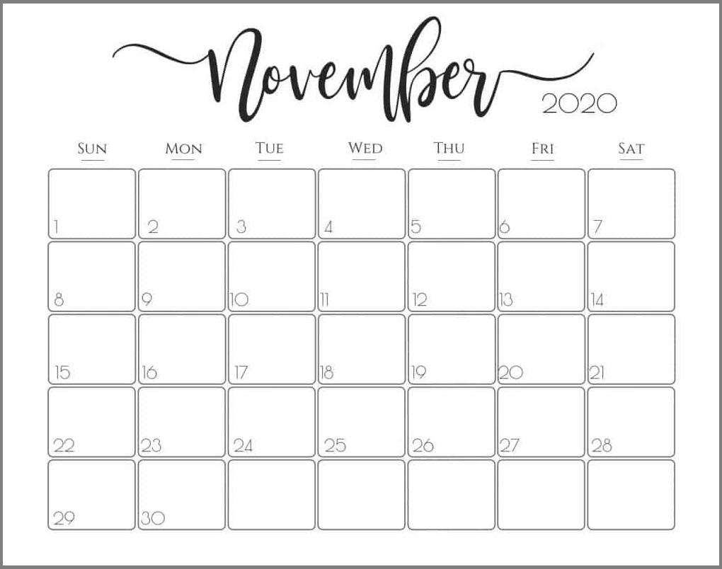 Cute November 2020 Calendar Designs