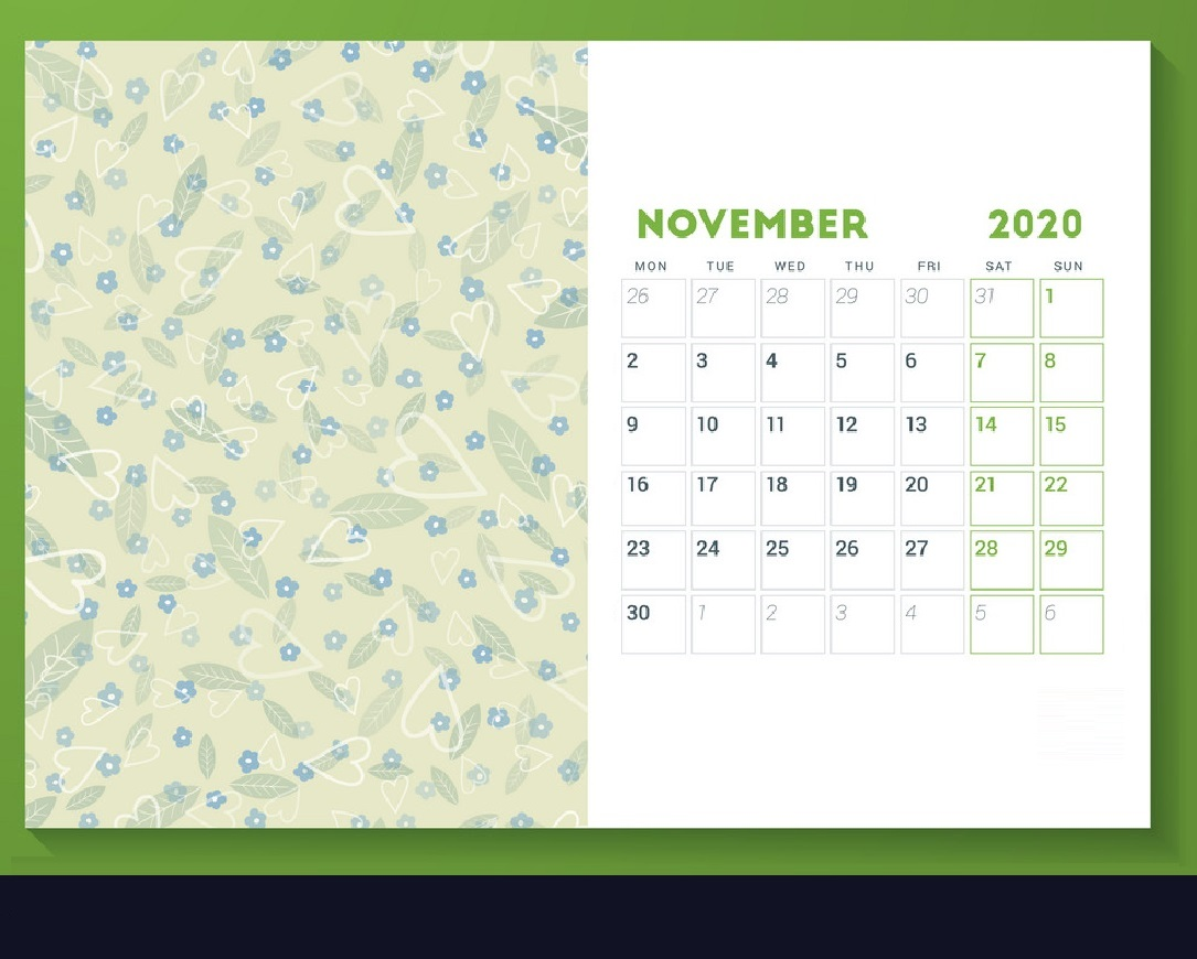 Cute November 2020 Calendar For Desk