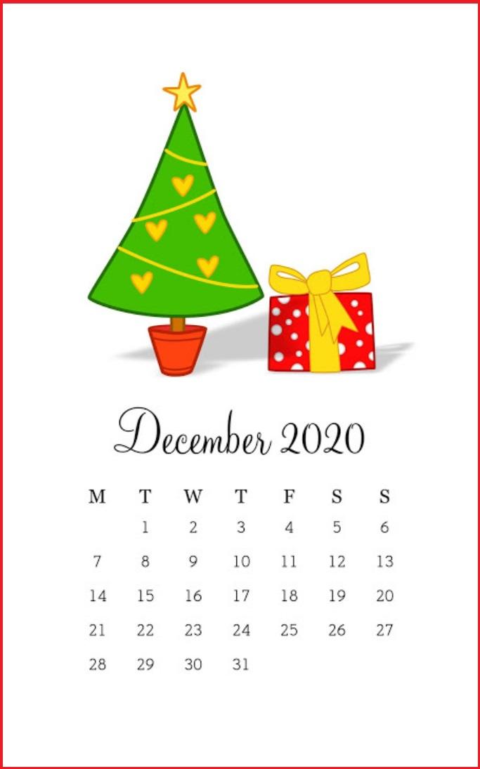 Cute X-Mas Tree December 2020 Calendar Designs
