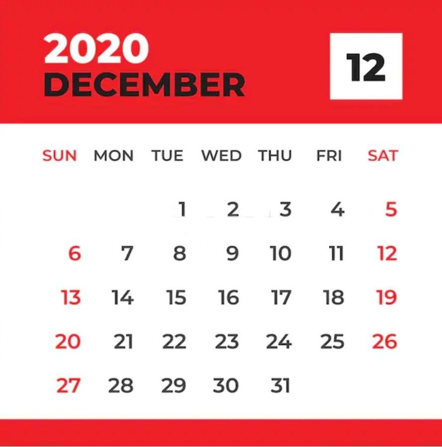 December 2020 Calendar For Office