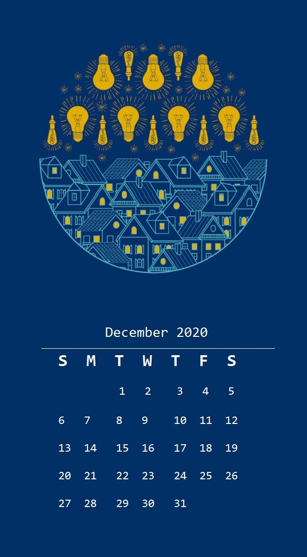 December 2020 Calendar For iPhone