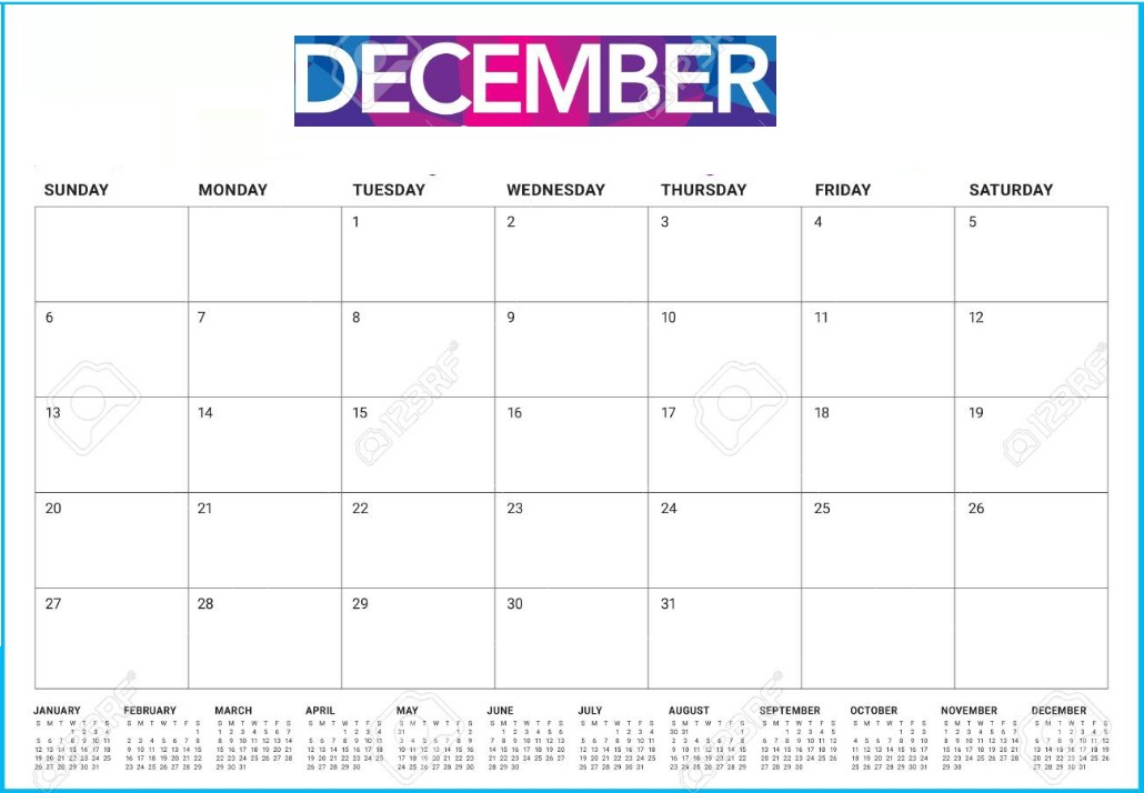 December 2020 Desk Calendar