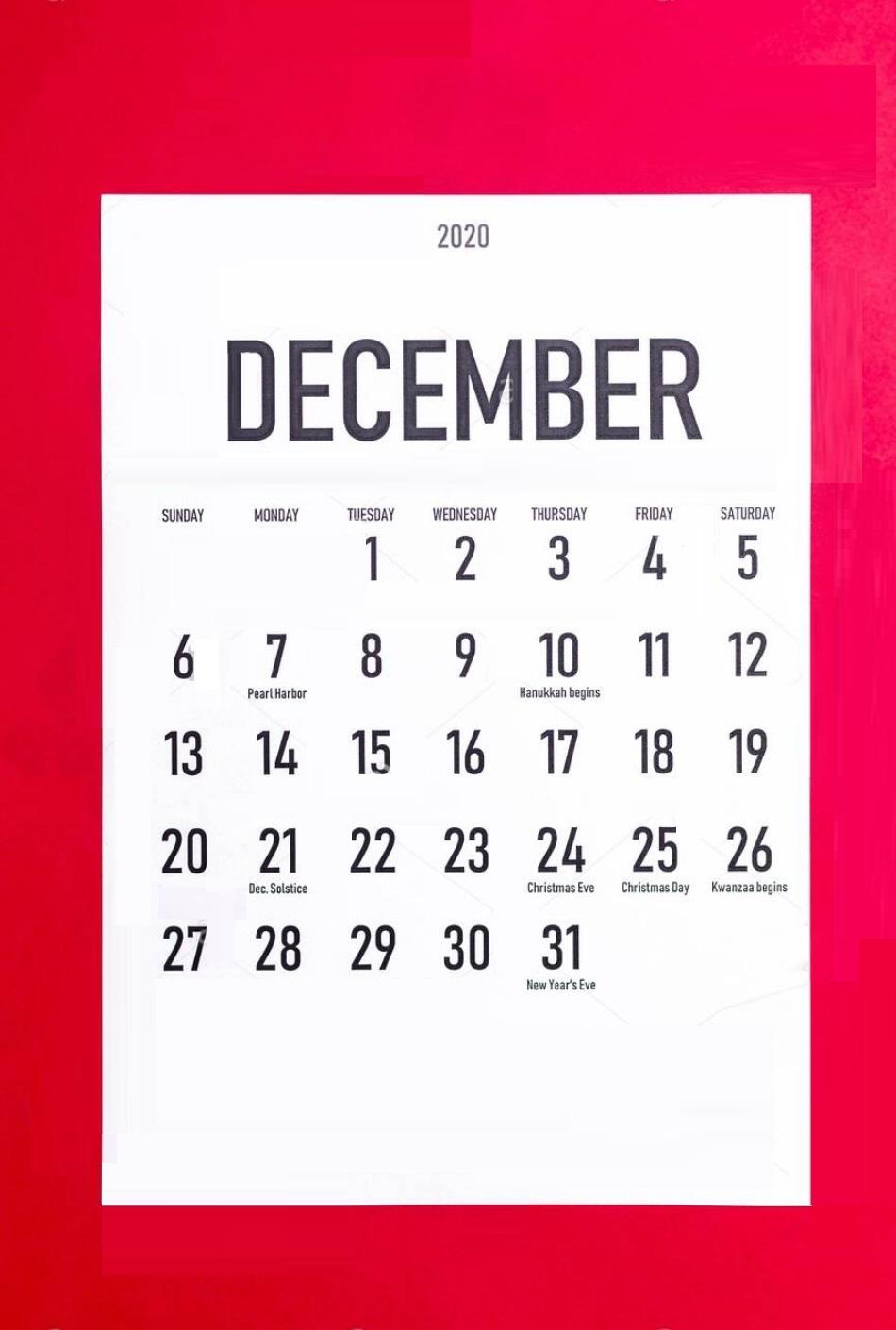 December 2020 Holidays Calendar Design