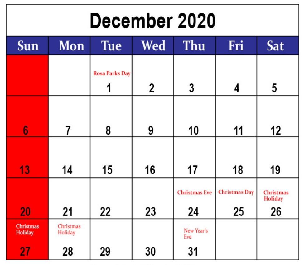 December 2020 Holidays Calendar Planner
