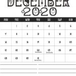 December 2020 Holidays Calendar Template