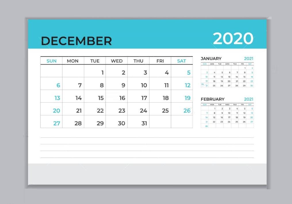 December 2020 Office Desk Calendar Download