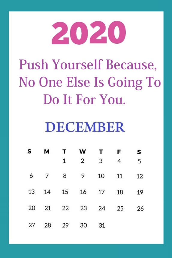 December 2020 Quotes Calendar Design