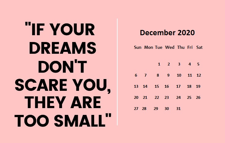 December 2020 Quotes Calendar For Students