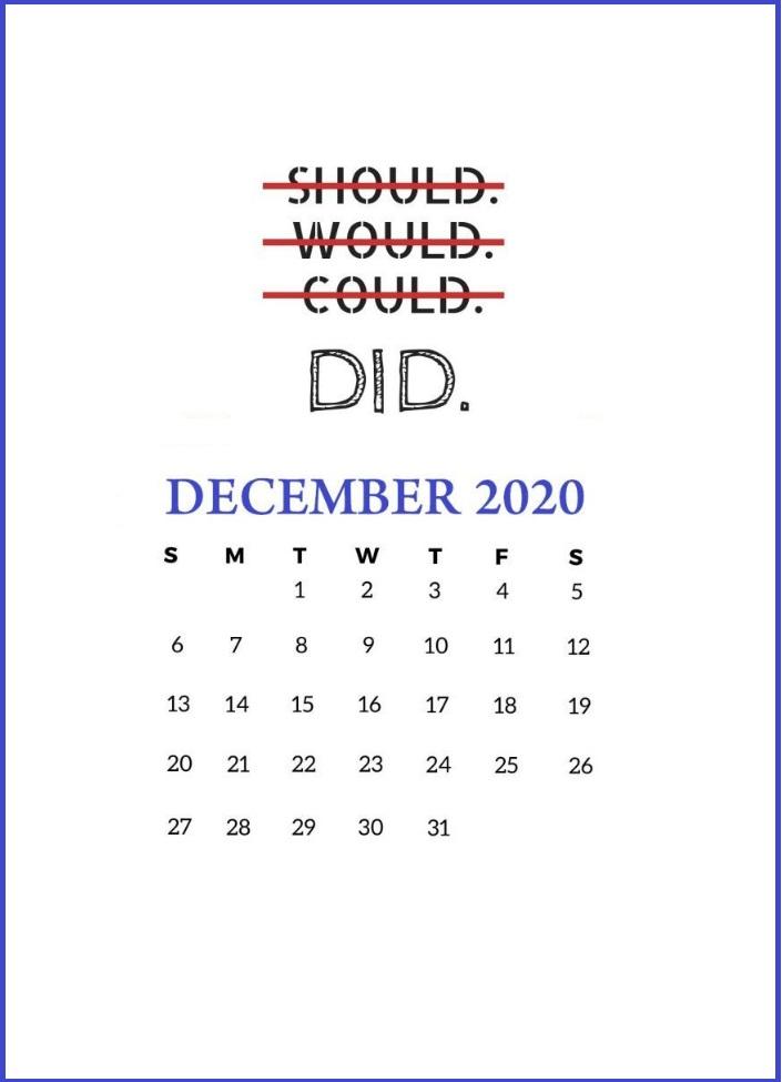 December 2020 Quotes Calendar