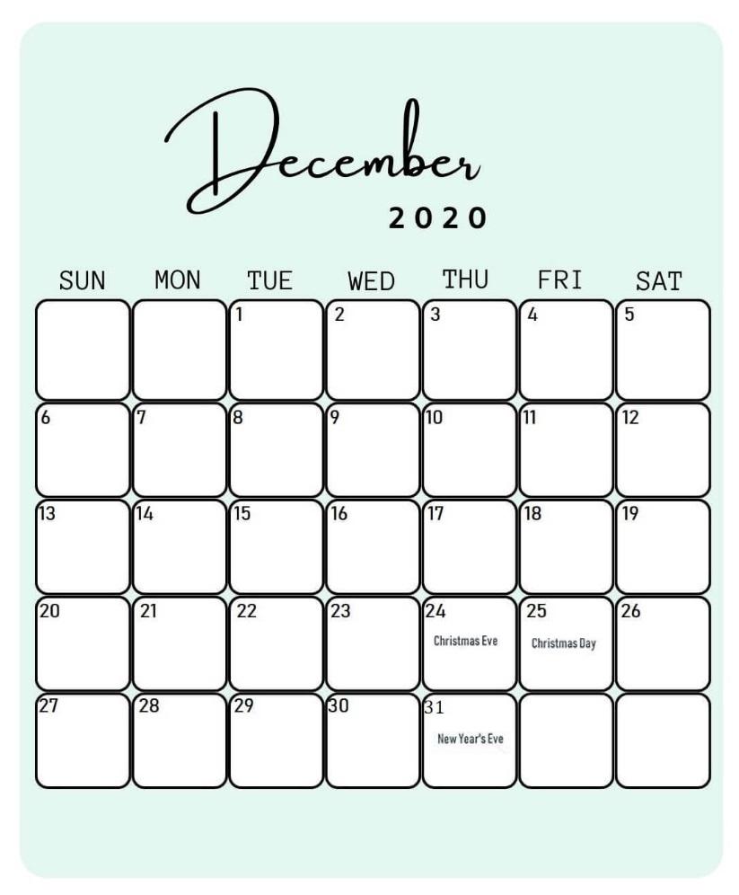 Editable December 2020 Holidays Calendar