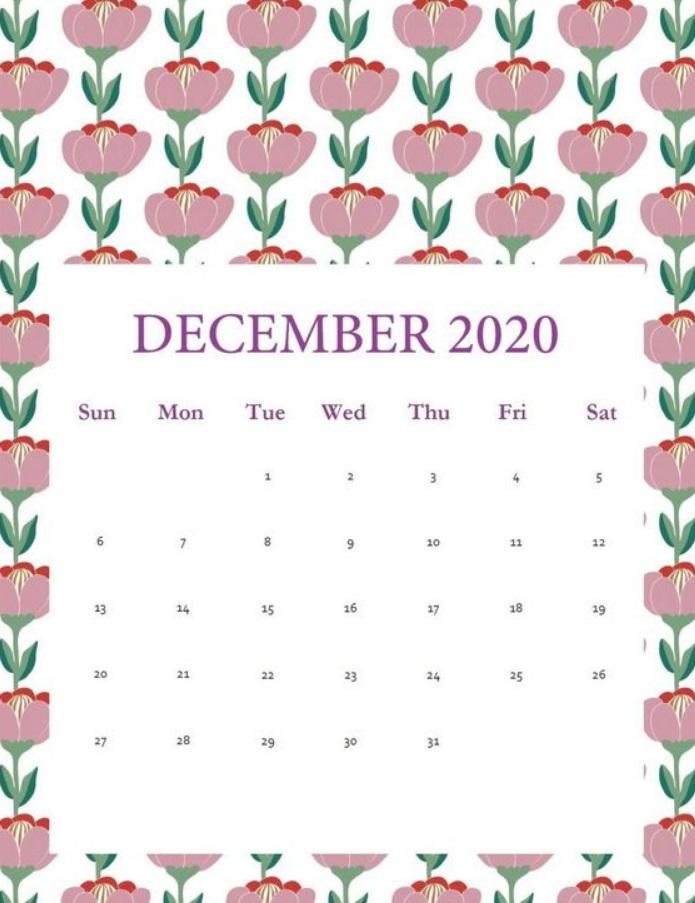 Elegant Floral December 2020 Calendar