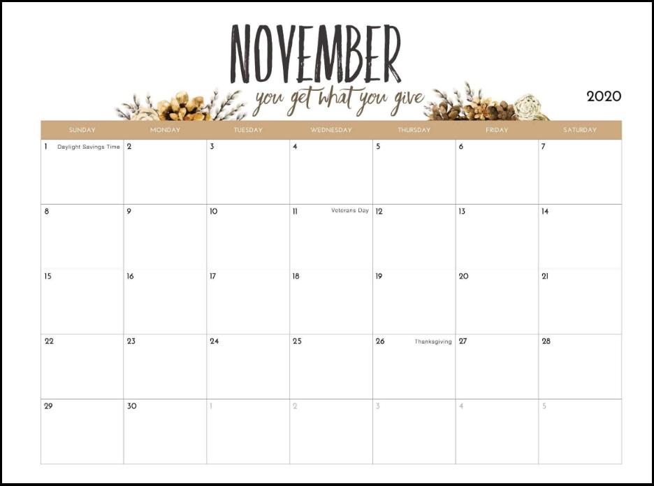 Elegant November 2020 Calendar Designs