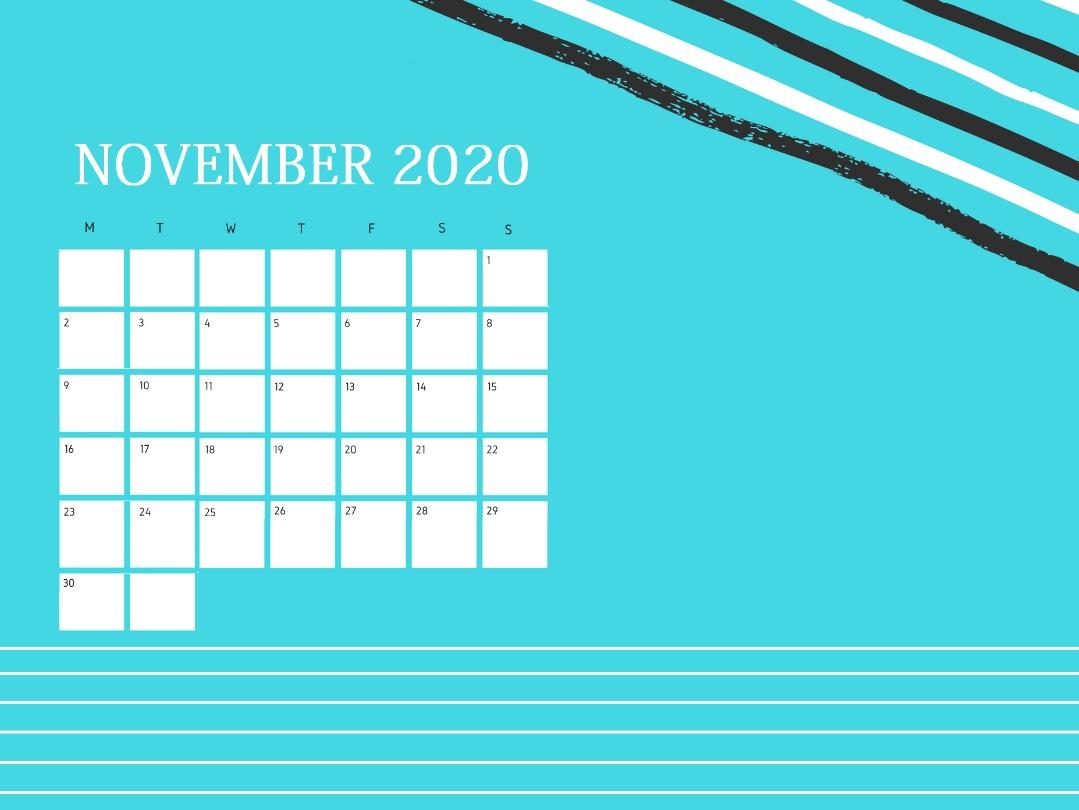 Elegant November 2020 Office Desk Calendar
