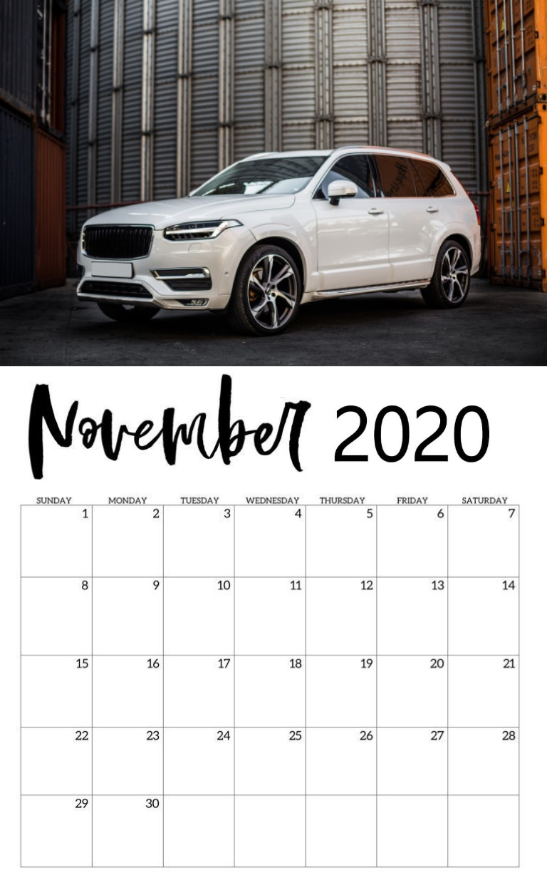 Elegant November 2020 Wall Calendar