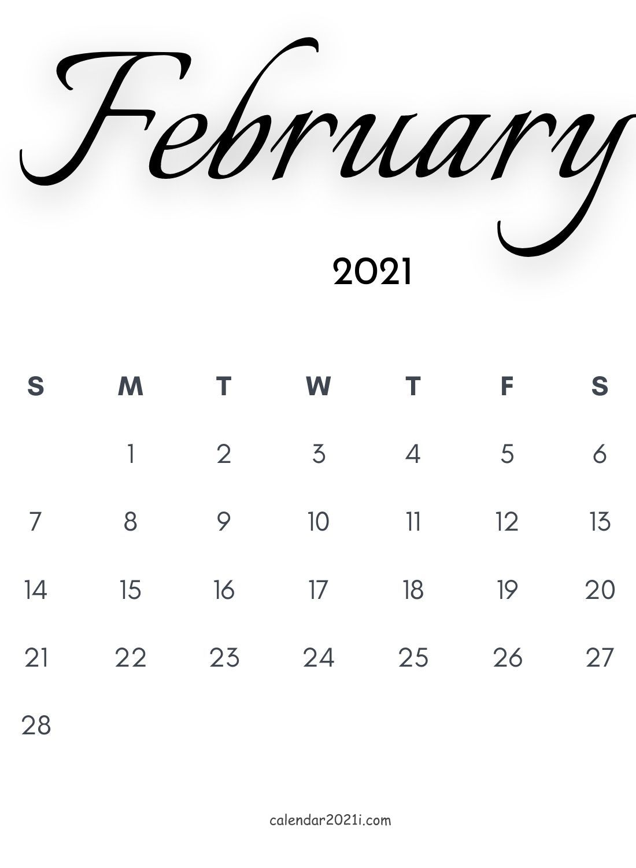 February 2021 Calligraphy Calendar