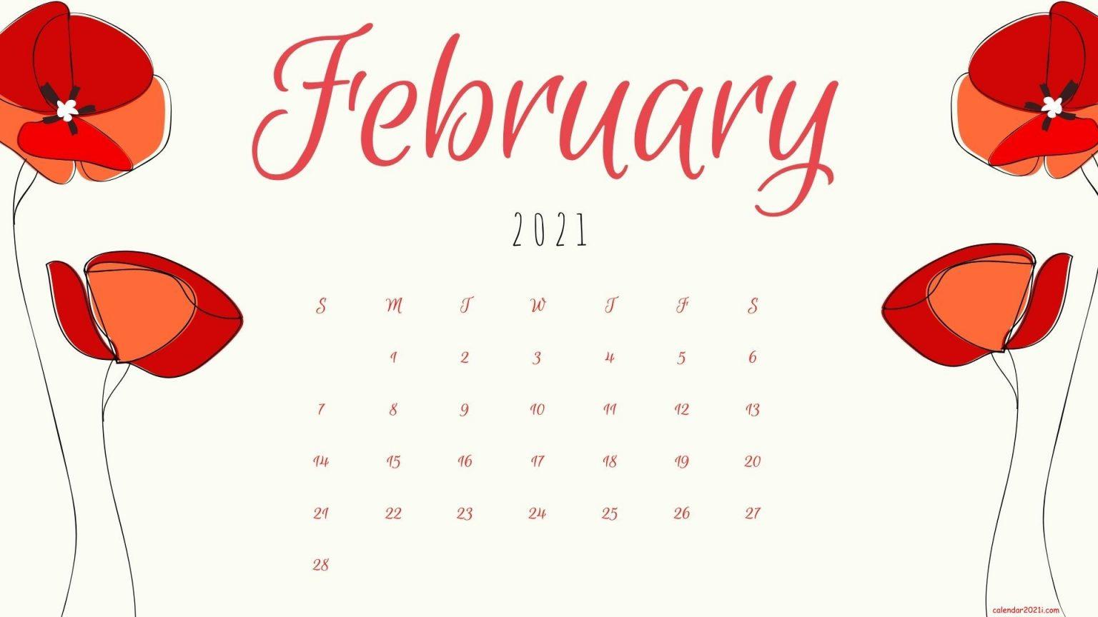 February 2021 Floral Calendar Wallpaper