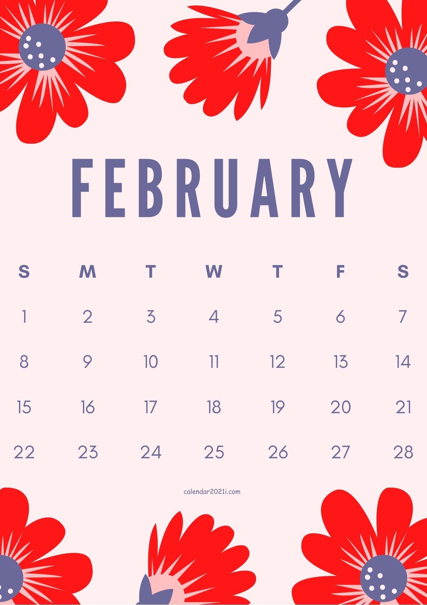 February 2021 Flower Calendar Download