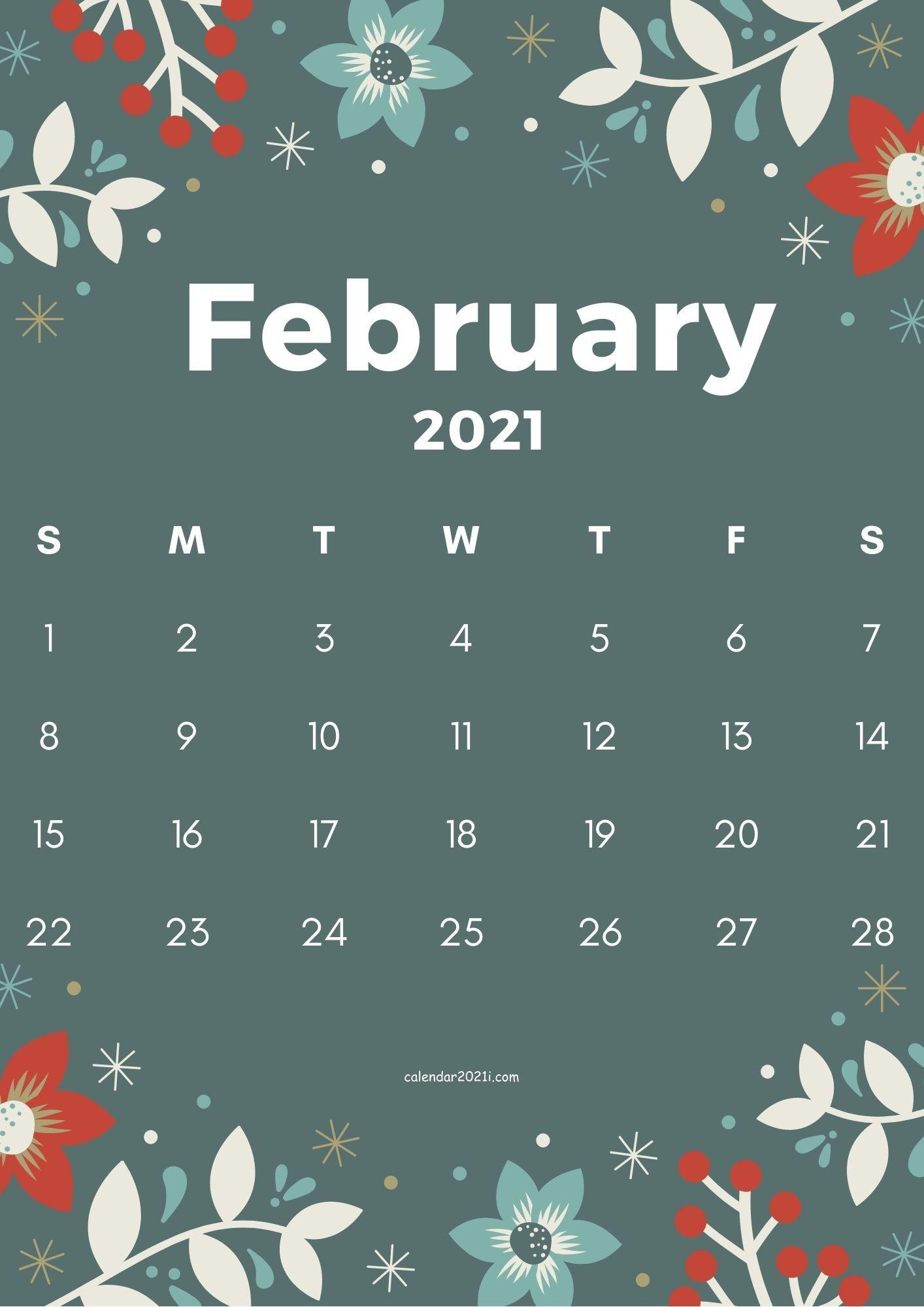 February 2021 Flower Calendar Printable