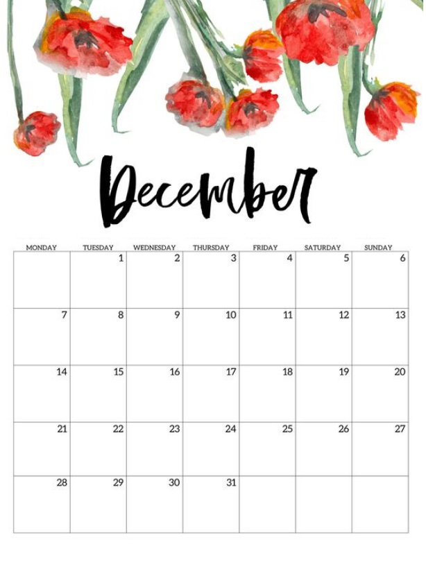 Floral December 2020 Calendar Download