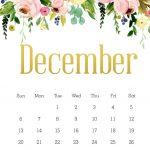 Floral December 2020 Calendar Template