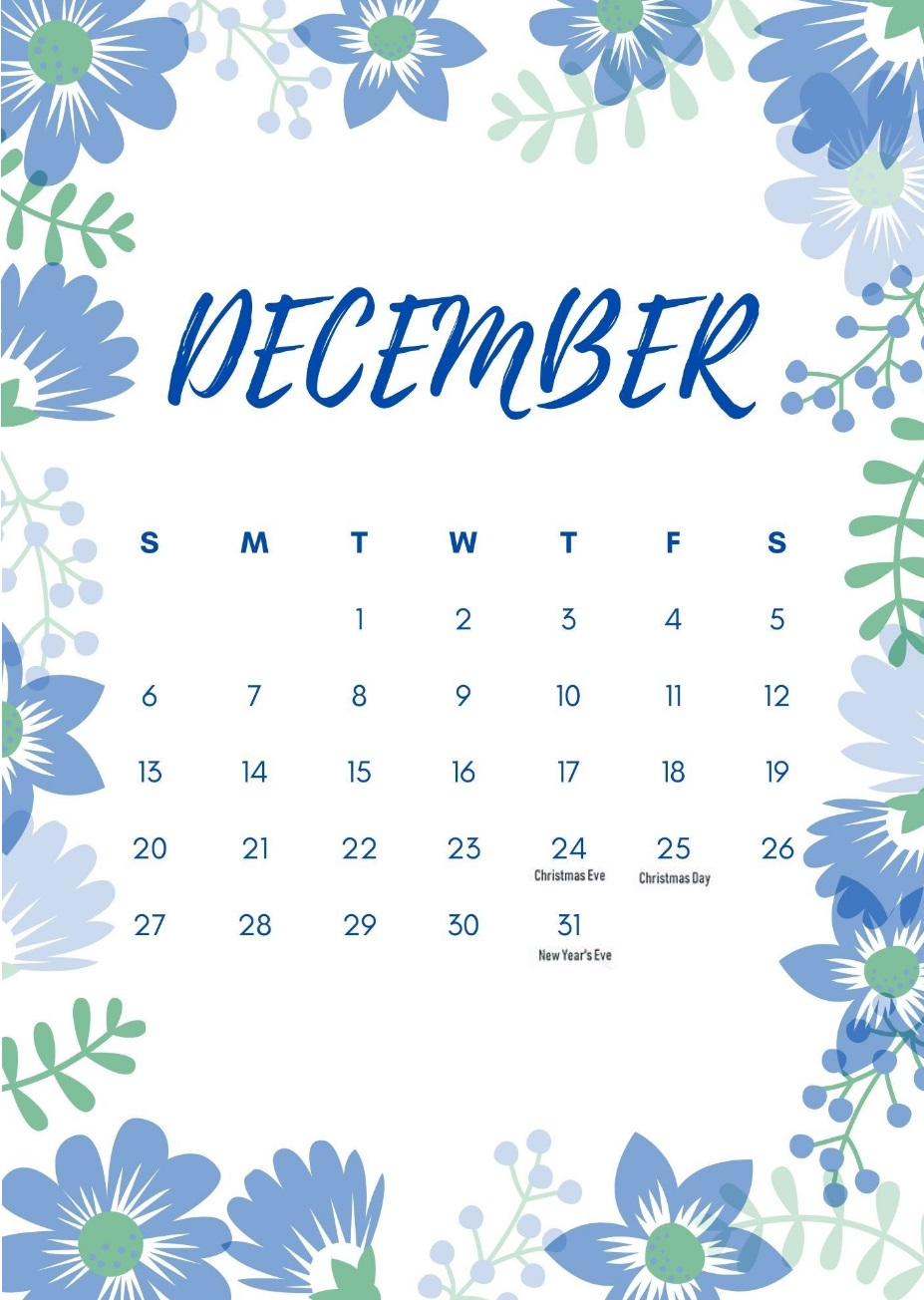 Floral December 2020 Holidays Calendar