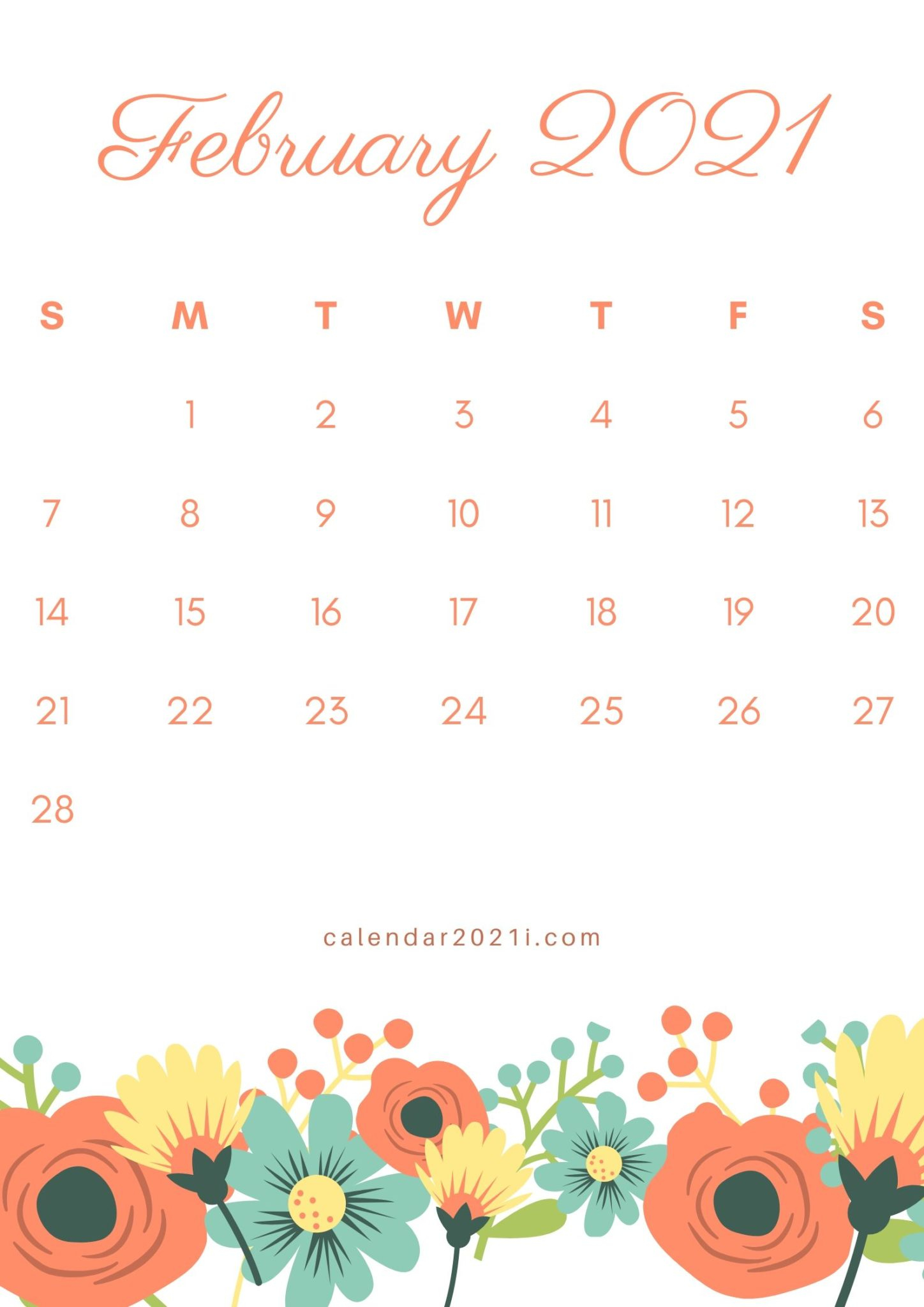 Floral February 2021 Calendar Printable