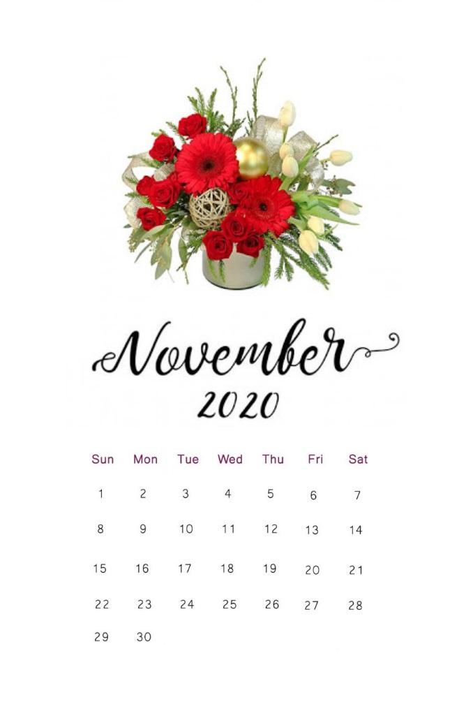 Floral November 2020 Calendar Download