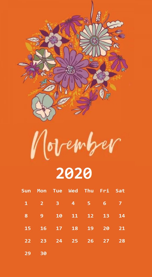 Floral November 2020 Calendar For iPhone