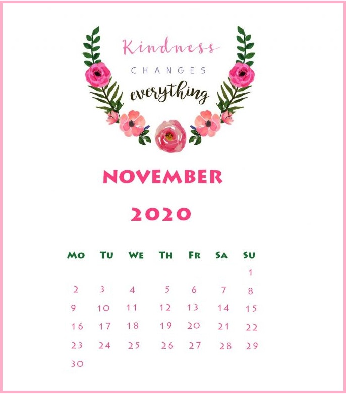Floral November 2020 Quotes Calendar