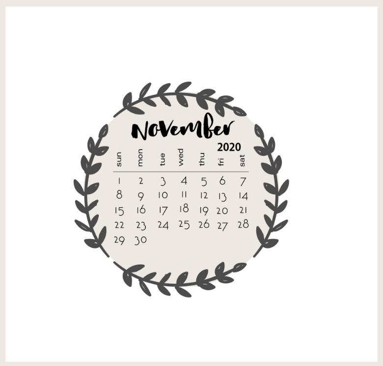 Floral Water Color November 2020 Calendar download