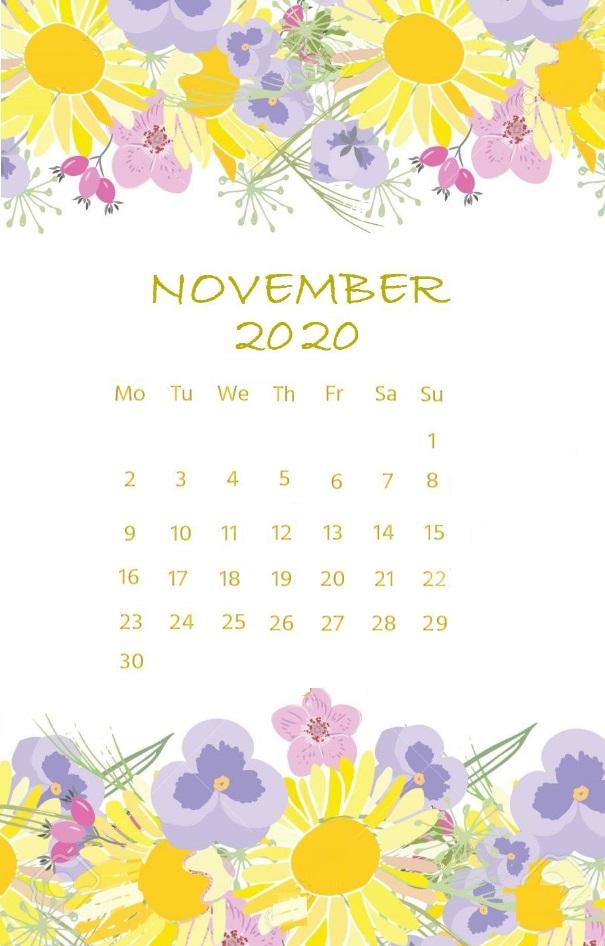 Floral Water Color November 2020 Calendar