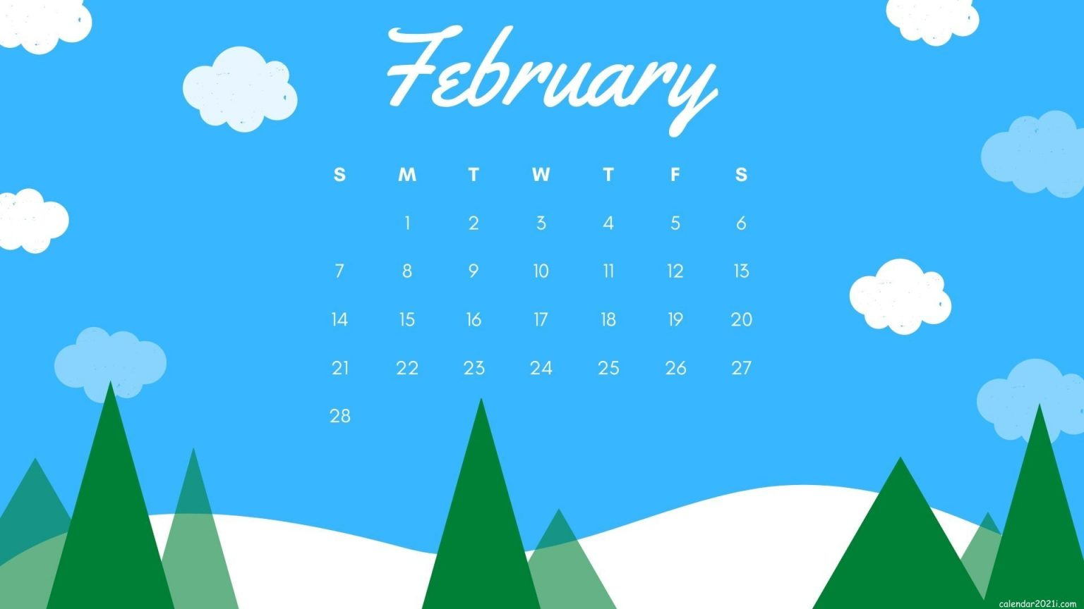 Free February 2021 Calendar Wallpaper