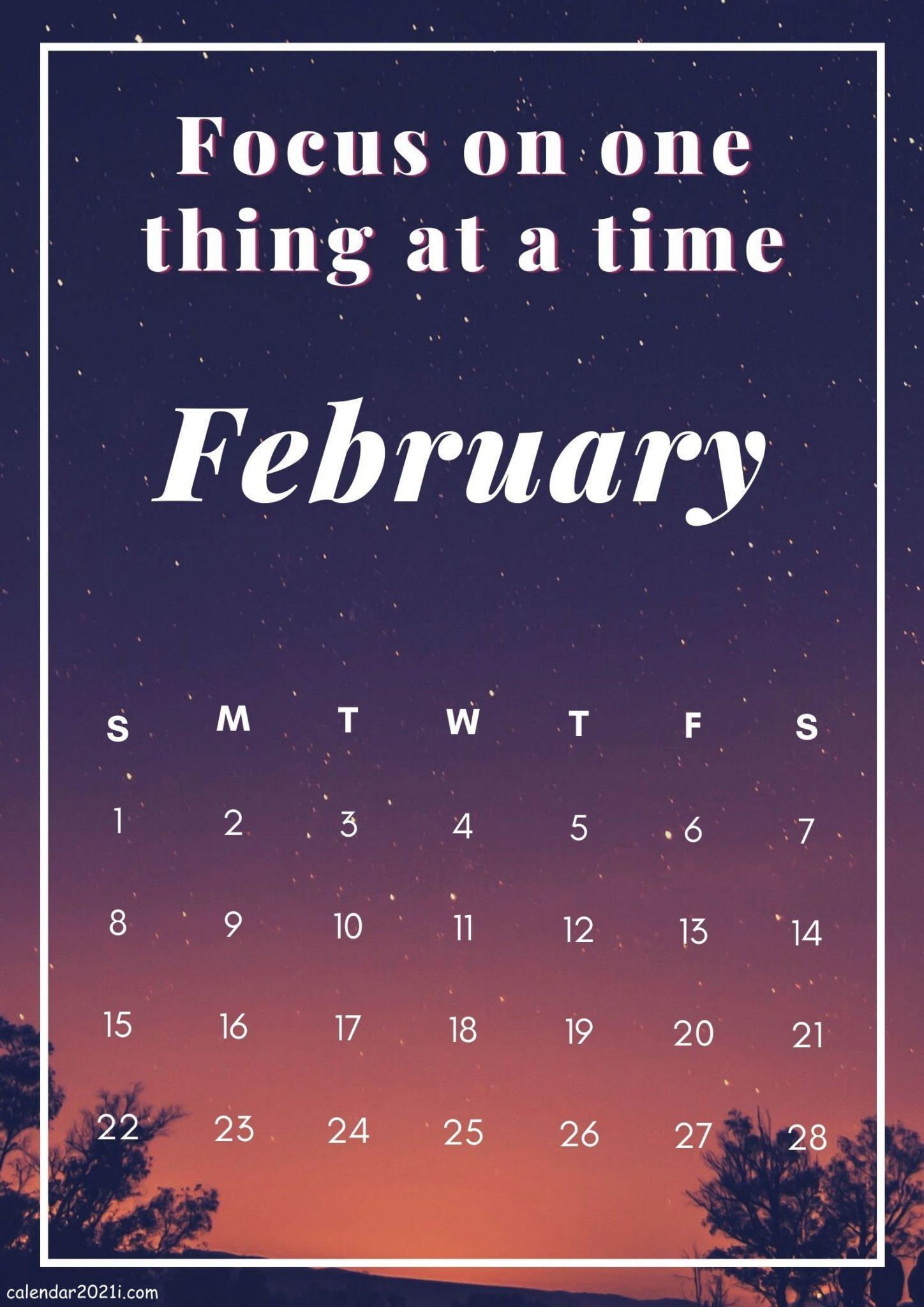 Free February 2021 Inspiring Calendar