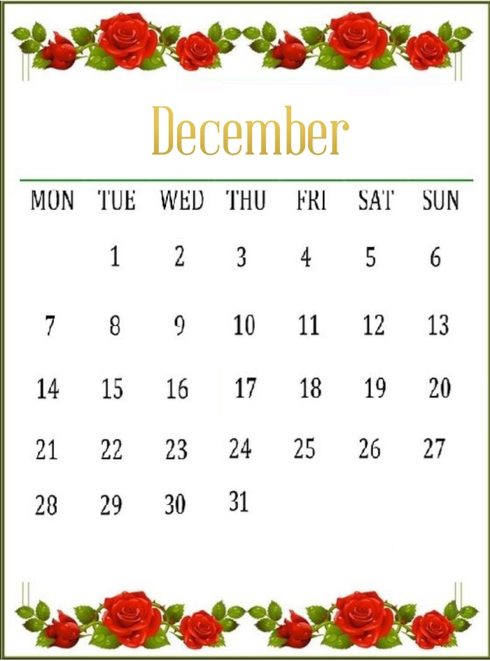Free Floral December 2020 Calendar