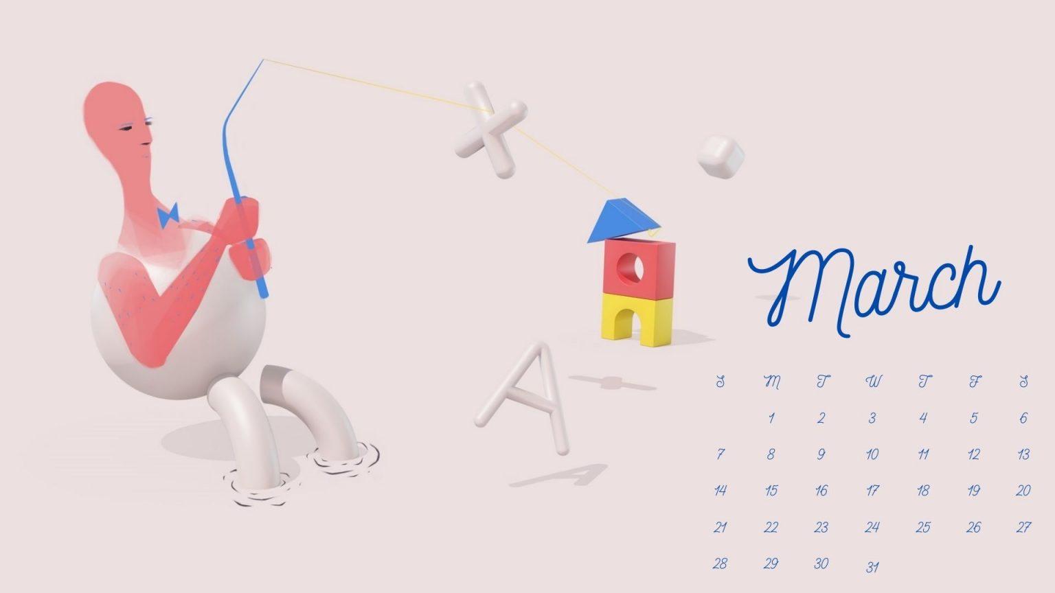 Free March 2021 Calendar Wallpaper