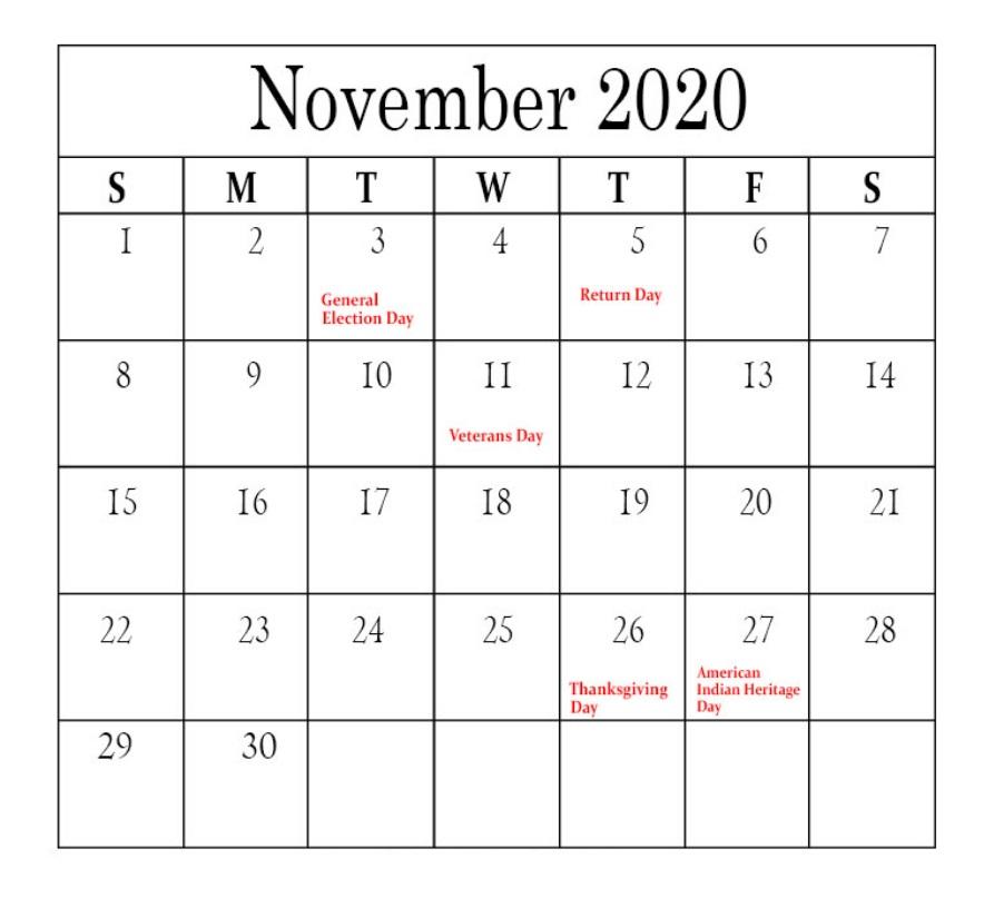 Free November 2020 Holidays Calendar